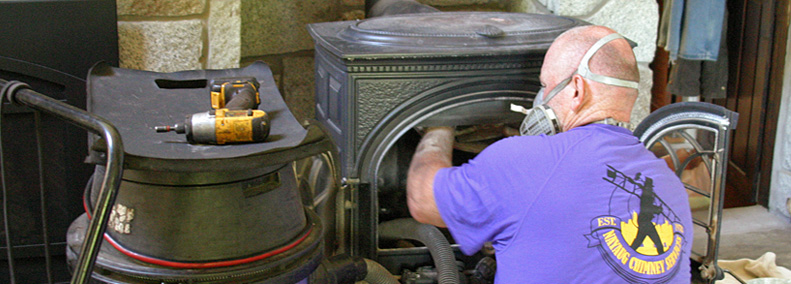 cleaning wood stove by certified chimney sweep in hebron ct lebanon area